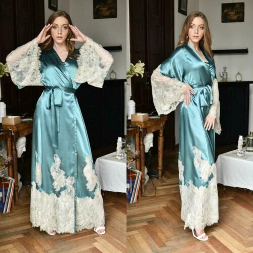 Details about  /Blue Women Night Robe Lace Applique Lingerie Bridal Sleepgowns Party Pajama
