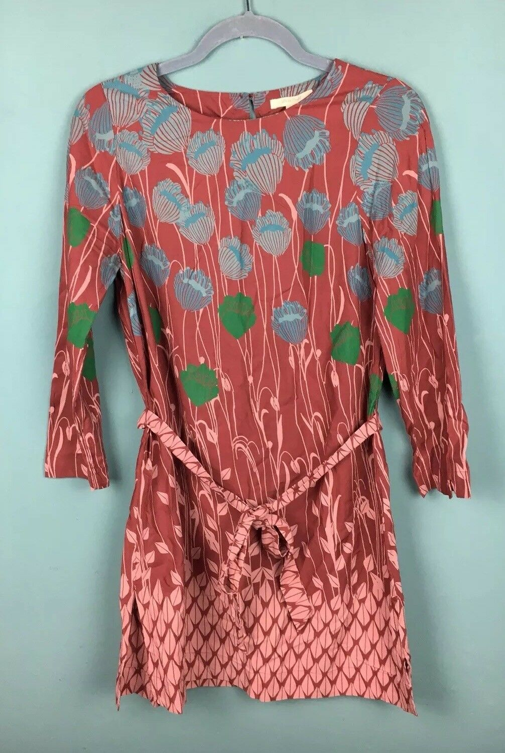 White Stuff Clay Red bluee Green Floral 'Embrace' Tie Waist Tunic Top 12 - B49