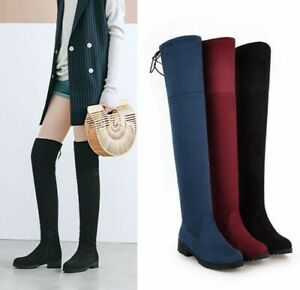 special section special for shoe 50% off Women Suede Fabric Flat Over The Knee Thigh High Boots Chunky Heel ...