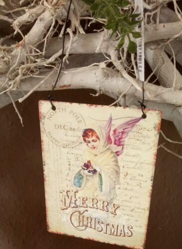 Imagen placa metal feliz Navidad Angel shabby vintage cottage decoración 8x11cm