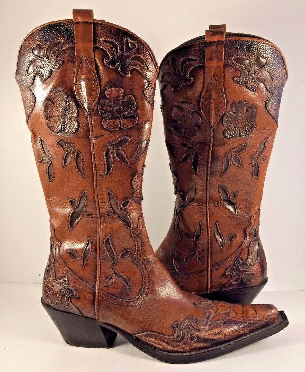 Vintage Italian Brown Sculpted Leather Western Cowboy Boots Womens Size M