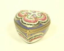 vtg Limoges FranceTRINKET BOX Peint Main France porcelain Heart Shape Red flower