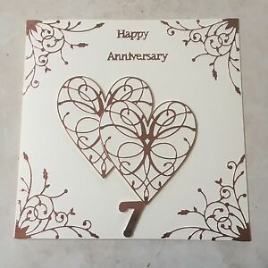 Handmade Copper Wedding Anniversary Card Happy 7th Wedding