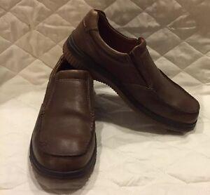 men's ecco brown leather slipon shoes rubber soles size 8
