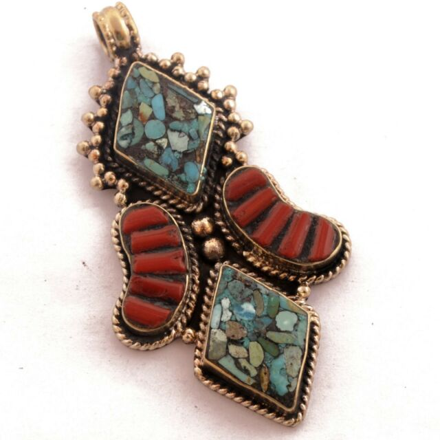 Turquoise Coral Pendant Tibetan Nepalese Handmade From Nepal PD1038a