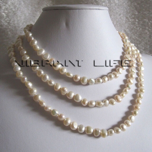 """51"""" 6-8mm White Baroque Freshwater Pearl Necklace Strand Jewelry U"""