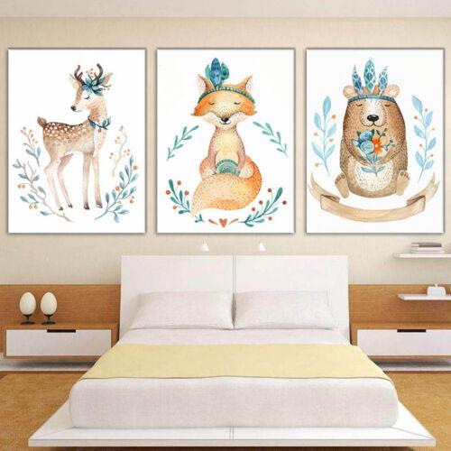 3 Panels Cute Deer Animal Canvas Painting Kid/'s Room Posters Wall Art Decor