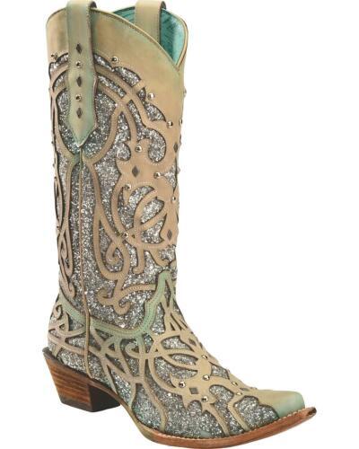 C3377 Corral Women/'s White Turquoise Glitter Chameleon Sun Boot Snip Toe