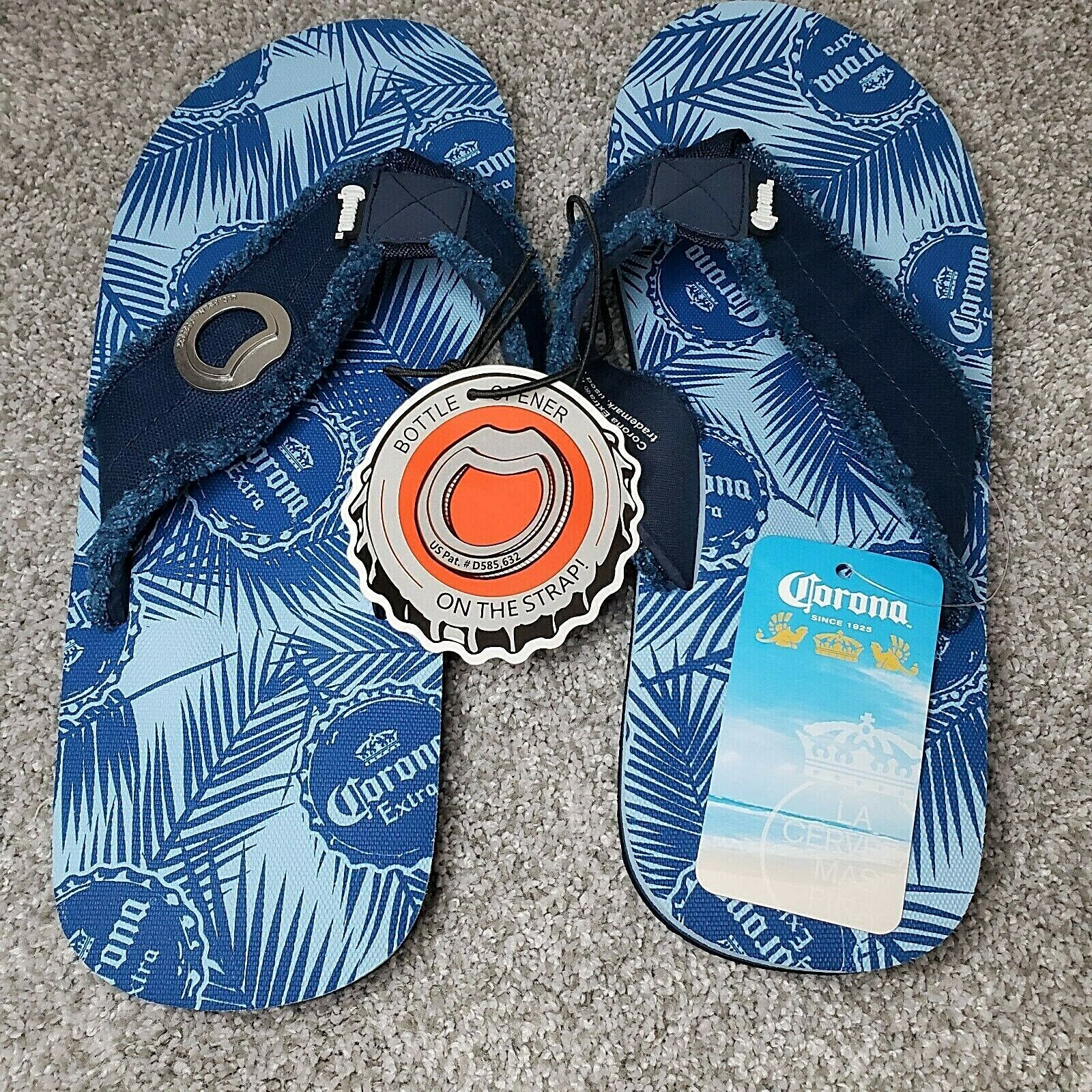 New Corona Men's Size L (9-10) Blue Sandals Flip Flops Bottle Opener On Strap