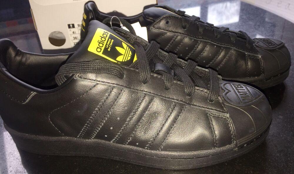 Adidas Superstar Pharrell SuperSH Originals BLK Cuir Baskets BN BOXED UK 3.5-