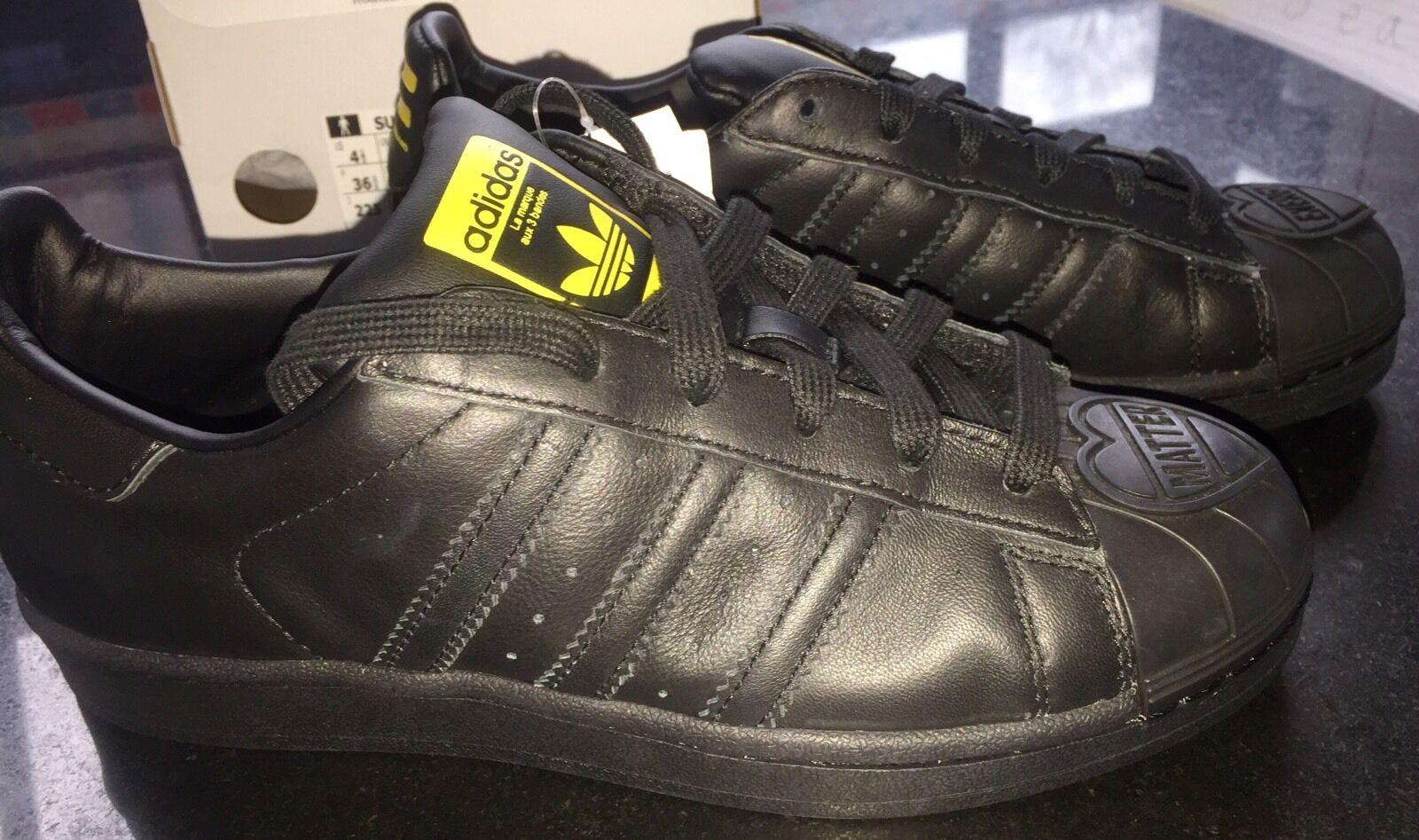 Adidas Superstar Pharrell Supersh Originals Blk Leder Trainers BN Boxed UK 3.5