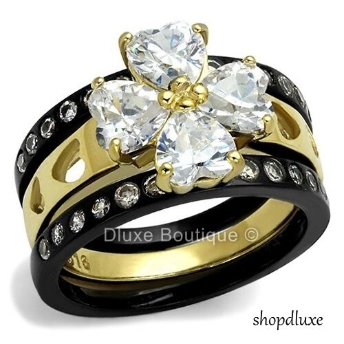 3.50 CT HEART SHAPE CZ WIDE BAND STAINLESS STEEL WEDDING RING SET WOMENS SZ 5-10