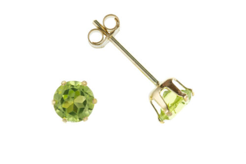 Peridot Solitaire Stud Earrings Solid Gold 9 Carat 3.5mm Studs Natural Stones