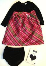 NWT Hartstrings Girl Red Pink Plaid Silk Party Dress Panty Tights 3 3T Holiday