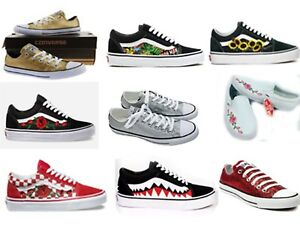 Dettagli su New Custom Vans and Converse Shoes Red Rose, Bape, Pink Rose, Glitter Shoes