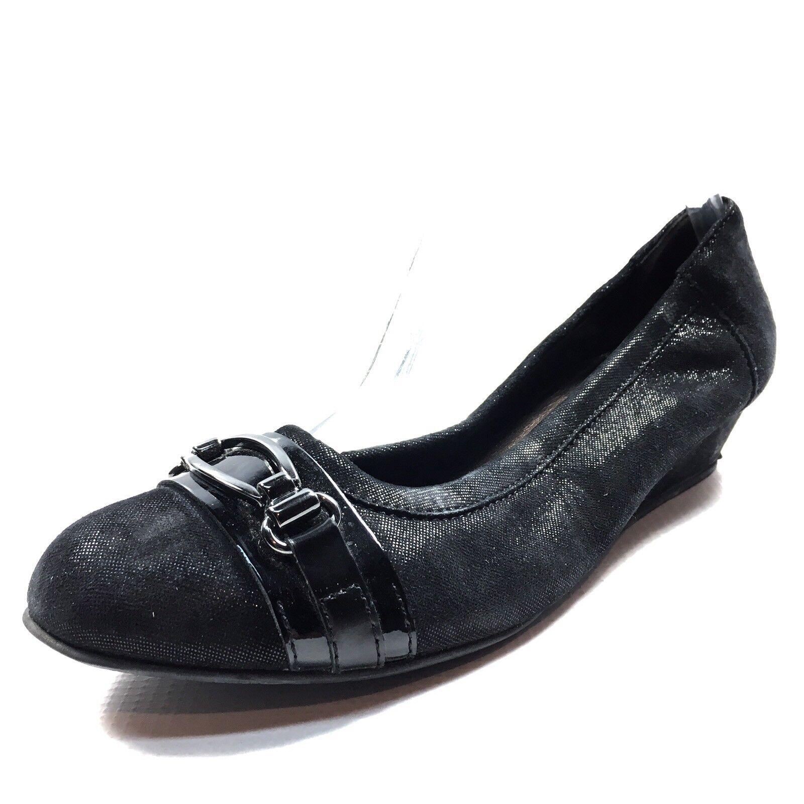 AGL Attilio Giusti Leombruni Womens Black Leather Wedge Flats Size 37.5 M