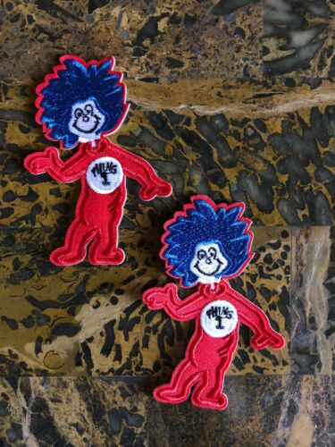 """Seuss Cat in the Hat 3.50/"""" H x 2.50/"""" L Iron On Sew On Patch Jacket 2 Thing 1 Dr"""