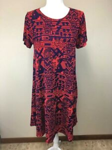 0a91226e5771 Details about Lularoe M Medium Orange Purple Geometric Patchwork Look Carly  Dress