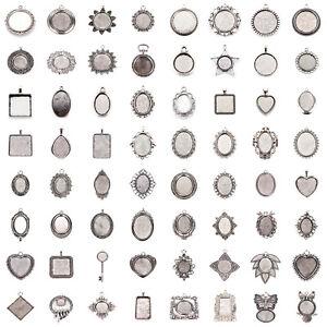 Tibetan-Alloy-Pendant-Cabochon-Setting-Bezels-Cameo-Charm-Blanks-Antique-Silver