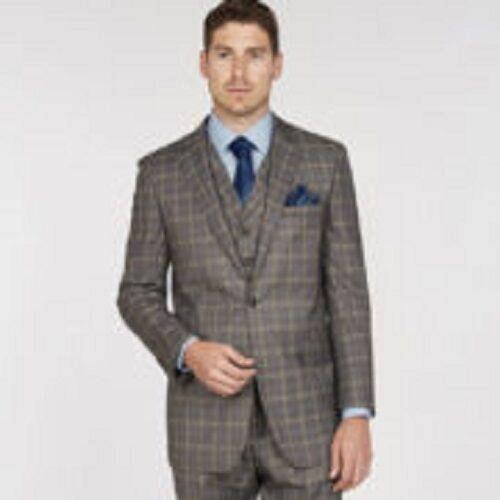 Giorgio Fiorelli Grey Windowpane 40R 34W Three Piece Mens Suit Pleated Pants