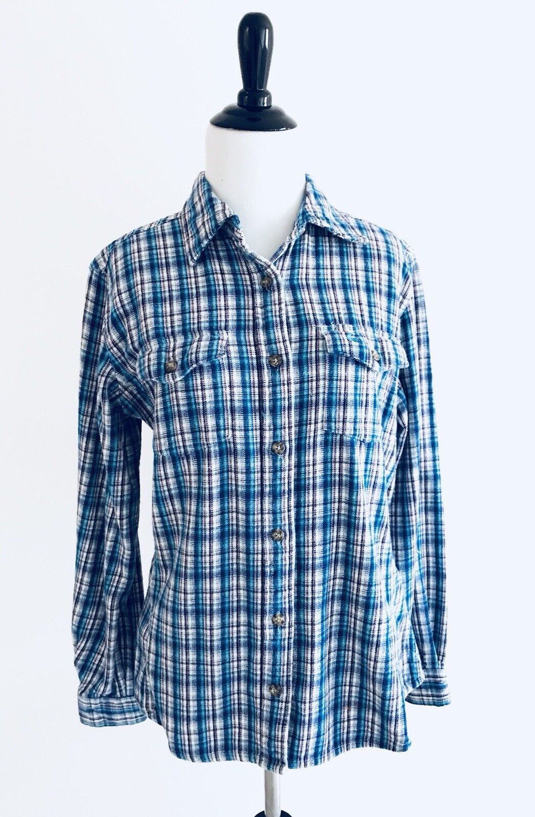 Carhartt G3 damen Button Down Shirt Größe S (4-6) Blau Pinstripe Cotton Collar