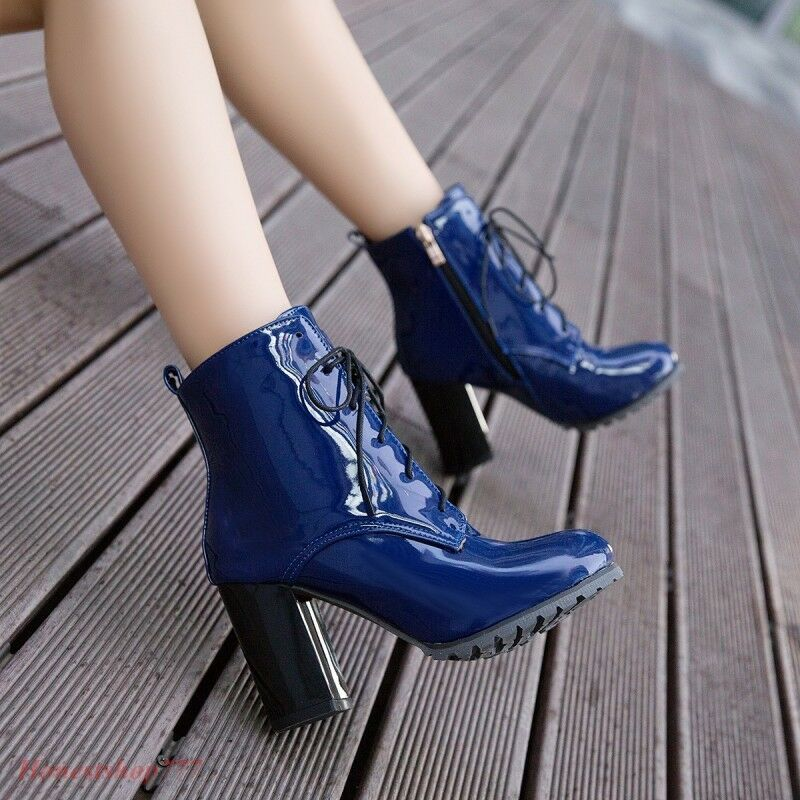 Fashion Women's Ankle Boots Lace Up Patent Leather Winter Chunky Heels New Boots
