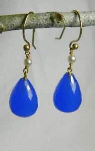 BEAUTIFUL-14k-SOLID-YELLOW-GOLD-EARRINGS-BLUE-QUARTZ-STONE-PEARL-HANDMADE