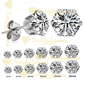 2Pcs-Women-Men-Kids-Surgical-Steel-Hypo-Allergenic-AAA-CZ-Crystal-Stud-Earrings