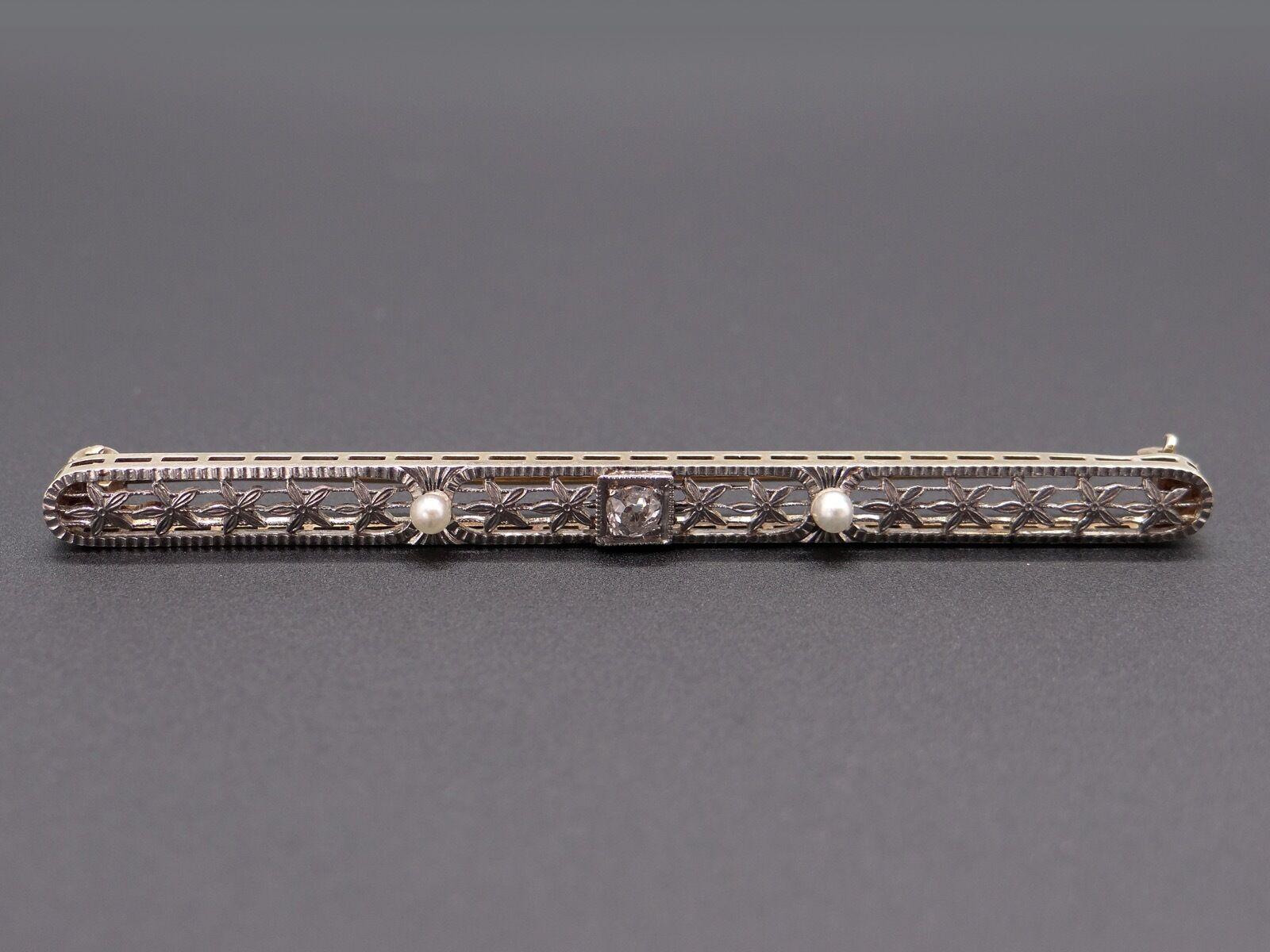 Platinum 14k Yellow gold .10ct Round European Diamond Filigree Brooch Bar Pin