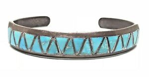 ZIGZAG-Sterling-Silver-OLD-Turquoise-Inlay-Design-Native-Cuff-Bracelet-Vintage