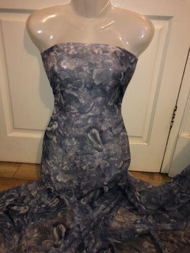 """1 MTR BLUEY//GREY PRINTED CHIFFON DRESS FABRIC...45/"""" WIDE"""