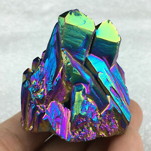 Top-Quartz-Crystal-Rainbow-Titanium-Cluster-VUG-Mineral-Specimen-Reiki-Healing