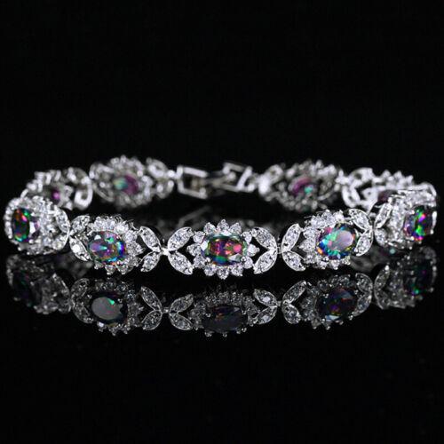 CWWZircons Oval Rainbow Fire CZ Crystal 925 Sterling Silver Bracelet For Women