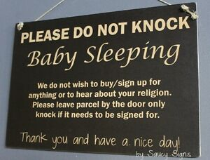 Black-Sleeping-Baby-Do-Not-Knock-Doorbell-Wooden-Warning-No-Soliciting-Sign