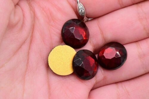 Glass silver faceted cabochon gold foiled round rhinestone vintage 15 mm