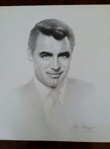 Gary Saderup Pencil signed Charcoal Print of Cary Grant circa1997