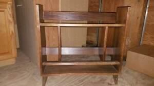 Vintage-60s-Mid-Century-Modern-Bookcase-Shoe-Rack-Cone-Brass-Leg-Book-Shelf