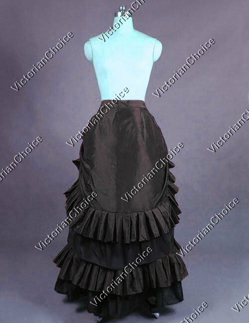 Victorian Gothic Black Pleated Bustle Skirt Reenactment Steampunk Clothing K034