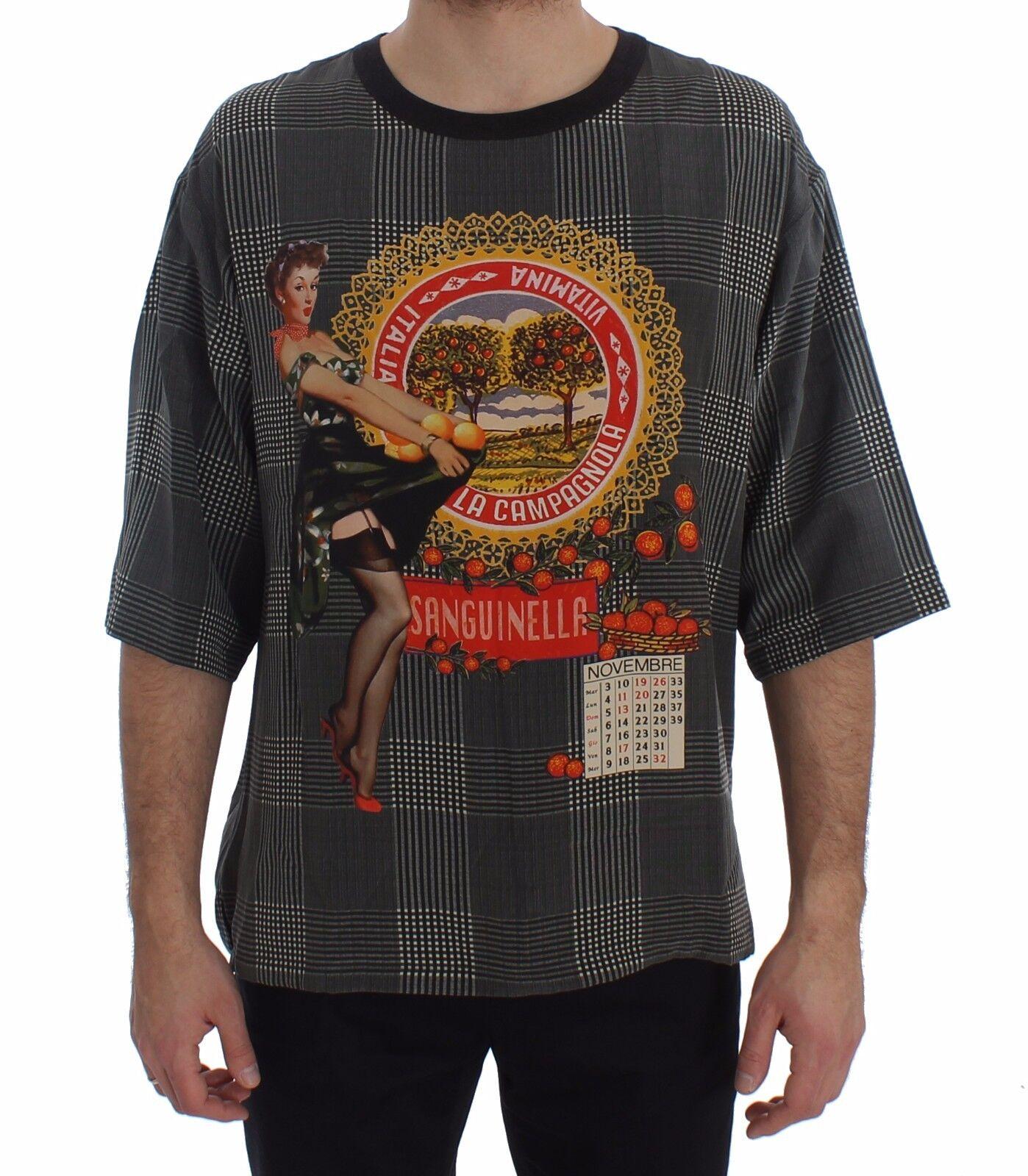 NEUF DOLCE & Gabbana T-Shirt ras du cou sanguinella Italie imprimé soie IT48/M