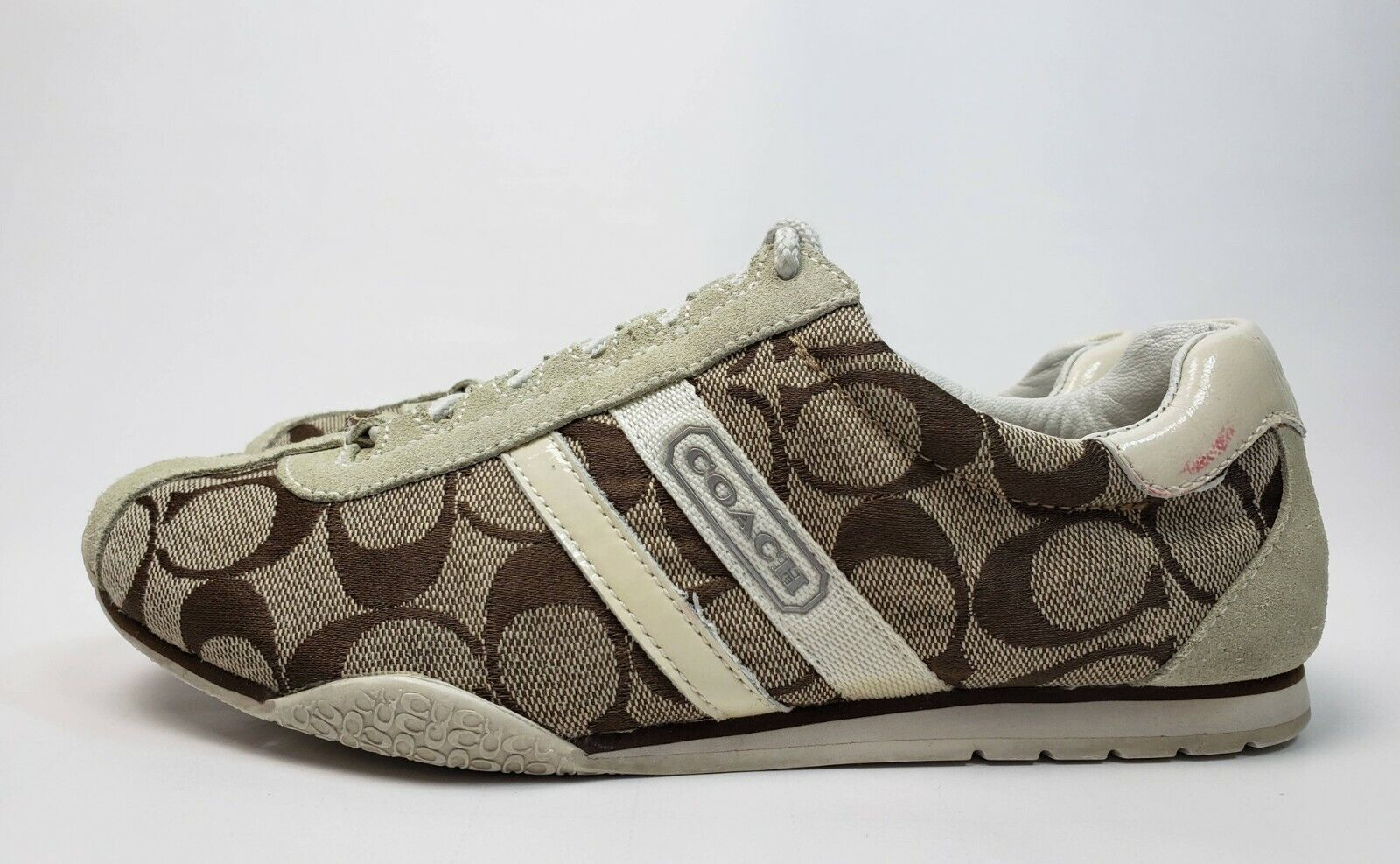 COACH Katelyn Monogram Brown Canvas Casual Lace Up Sneaker Shoe Womens Size 6.5