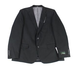 Haggar Mens Blazer Black Size 46 Two-Button In Motion Stretch Notched $175 #643