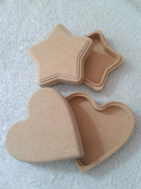 MDF Wooden Shape to decorate/ Plain Wooden Box Heart Star/ Trinket Wooden Box