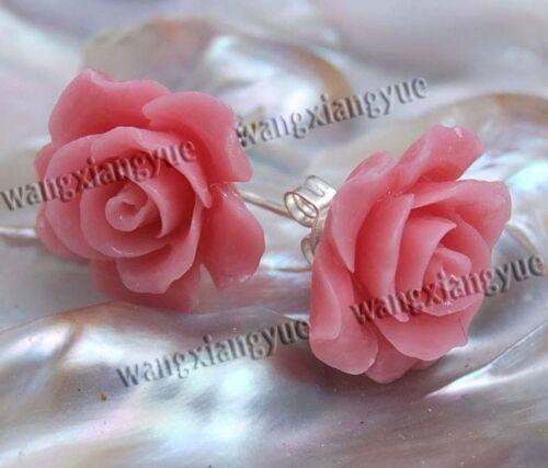 15 mm Rose de Mer corail sculpté de fleurs boucles d/'oreilles argent clous