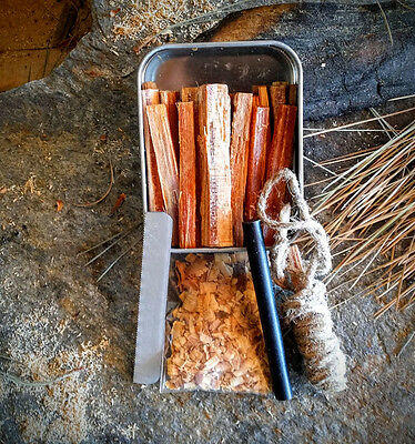 PBL Fatwood 20 Sticks Firestarters in Tin Hand Cut in USA Camping Hiking Backpacking