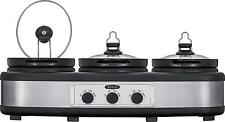 Bella - 3 x 2.5-Quart Triple Slow Cooker - Stainless Steel/Black