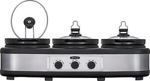 Bella-3-x-2-5-Quart-Triple-Slow-Cooker-Stainless-Steel-Black