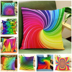 Rainbow-patron-abstracto-Cuadrado-Almohadon-Funda-Cubierta-para-Cojin-Sofa-Hogar-Decoracion