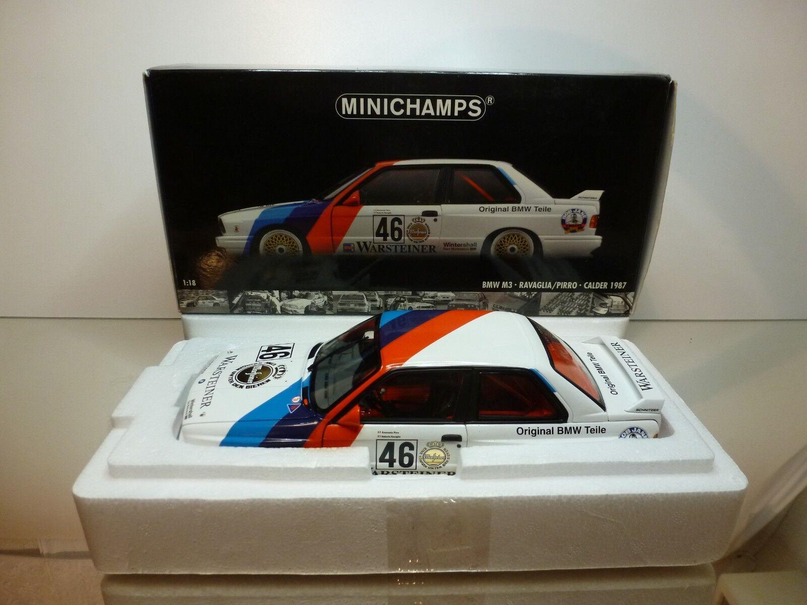 MINICHAMPS BMW M3 E30 WTC 1987 RAVAGLIA PIRRO  46 bianca 1 18 - EXCELLENT IN BOX