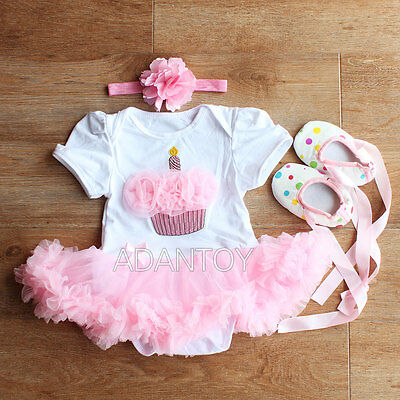 Infant Baby Girls Cake Headband+Romper+Shoes Outfit Clothes Dress 0-12M