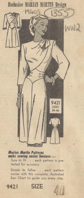 1940s WW2 Vintage Sewing Pattern B40 DRESS (1355) By MARIAN MARTIN